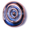 Glass Lamp Bead 17/20mm Round Flat Transparent Blue/Bronze